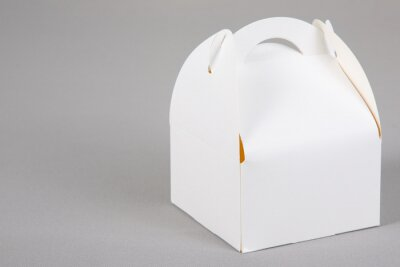 Fototapeta closed pastry cake box white blank mockup aside copy space isolated on grey background