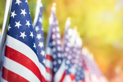 Fototapeta Closeup of an American flag in a row. Memorial day, Independence day, Veterans day concept. Copy space.