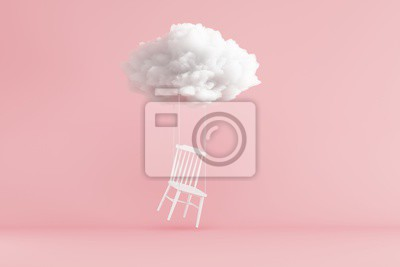 Fototapeta Cloud Floating above white chair on pink background. Minimal idea concept. 3D render.