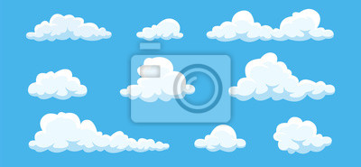 Fototapeta Clouds set isolated on a blue background. Simple cute cartoon design. Icon or logo collection. Realistic elements. Flat style vector illustration.