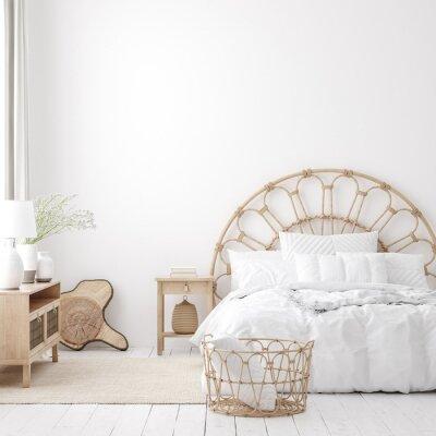 Fototapeta Coastal boho style bedroom interior, wall mockup, 3d render