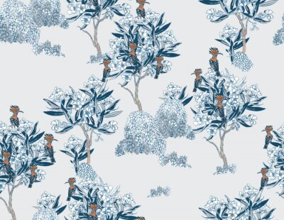 Fototapeta Cobalt Blue Oriental Design Chinese Motifs Pattern Blooming Garden, Hoopoe Birds on Floral Trees Chinoiserie Seamless Pattern