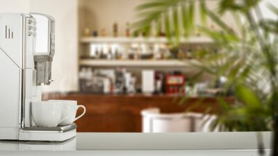 Coffee machine in cafe interior and free space for your decoration.