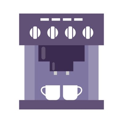 Coffee machine with cups on a white background.