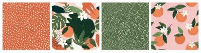 Fototapeta Collage contemporary orange floral and polka dot shapes seamless pattern set.