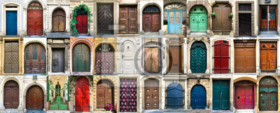 Fototapeta Collage of 36 colourful front doors