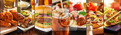 Fototapeta collage of american style restaurant foods