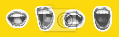 Fototapeta Collage of contemporary art in the style of a magazine with a set of female emotional lips. Closeup mouth girl expressing various emotions. Black and white tones colorful yellow background