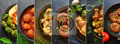 Fototapeta Collage of food in the dishes. A variety of food, vegetables, chicken, close-up and top view. Options for dishes.