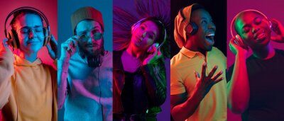 Fototapeta Collage of portraits of young emotional people on multicolored background in neon. Concept of human emotions, facial expression, sales. Smiling, listen to music with headphones. Flyer for ad, proposal