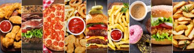 Fototapeta collage of various fast food meals and drinks