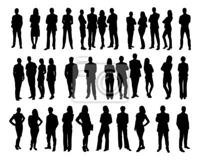 Fototapeta Collage sylwetki ludzi biznesu