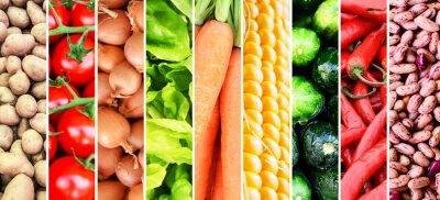 Fototapeta Collage warzyw - Grupa różnych świeżych warzyw