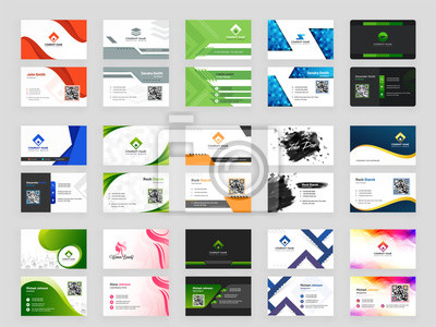 Fototapeta Collection of 15 horizontal Business card template design with front and back presentation.