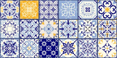 Fototapeta Collection of 18 ceramic tiles in turkish style. Seamless colorful patchwork from Azulejo tiles. Portuguese and Spain decor. Islam, Arabic, Indian, Ottoman motif. Vector Hand drawn background