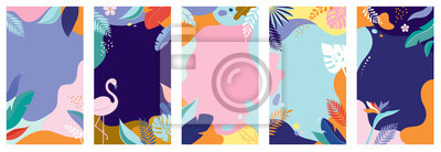 Fototapeta Collection of abstract background designs - summer sale, social media promotional content. Vector illustration