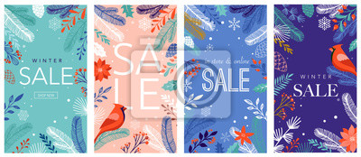 Fototapeta Collection of abstract background designs, winter sale, social media promotional content. Vector illustration