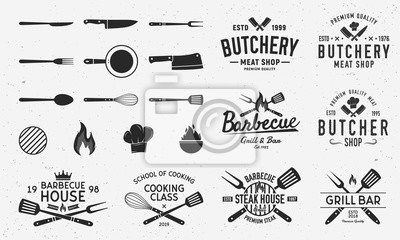 Fototapeta Collection of Butchery, Barbecue and Grill  logos, emblems, labels, badges. Set of 8 logo templates and 13 design elements for logo design. Vector templates