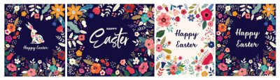 Collection of Easter greeting illustrations with colorful spring flowers. Happy Easter template, invitation