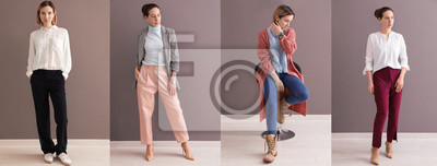 Fototapeta Collection of fashion photos with young models in stylish clothes