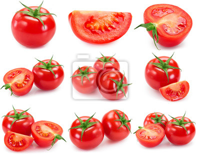 Fototapeta Collection of fresh tomato isolated on white background