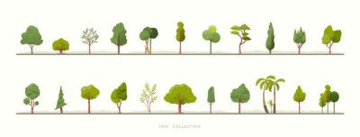 Fototapeta Collection of green tree vector icons