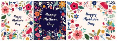 Fototapeta Collection of Happy Mothers Day greeting illustrations with colorful spring flowers. Happy Mothers Day templates, invitations