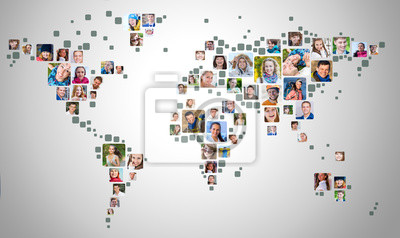 Fototapeta Collection of people portraits placed as world map shape. Global Business Concept