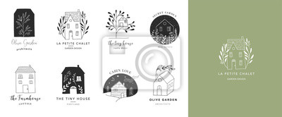 Fototapeta Collection of the hand drawn home, house logos, icons, gardens and cabins. Vector illustrations