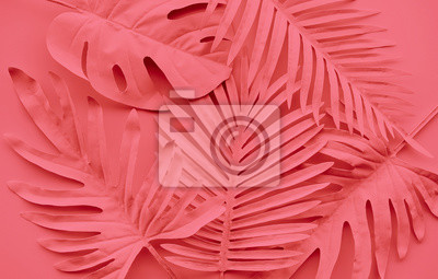 Fototapeta Collection of tropical leaves,foliage plant in color of year 2019.Abstract leaf decoration design