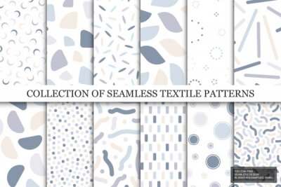 Fototapeta Collection of vector seamless colorful patterns. Trendy delicate textile design. Simple unusual prints. You can find repeatable backgrounds in swatches panel