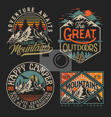 Fototapeta Collection of vintage explorer, wilderness, adventure, camping emblem graphics. Perfect for t-shirts, apparel and other merchandise