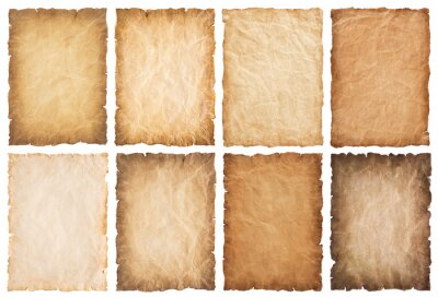 Fototapeta collection set old parchment paper sheet vintage aged or texture isolated on white background