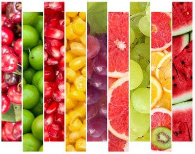 Fototapeta Color fruits and vegetables. Fresh food. Concept. Collage