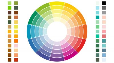 Fototapeta Color scheme. Circular color scheme with warm and cold colors. Vector illustration of a color