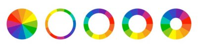 Fototapeta Color wheel guide. Floral patterns and palette isolated. RGB and CMYK colors. Pie charts diagrams. Set of different color circles. Infographic element round shape. Vector illustration.