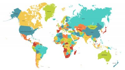 Fototapeta Colored world map. Political maps, colourful world countries and country names. Geography politics map, world land atlas or planet cartography vector illustration