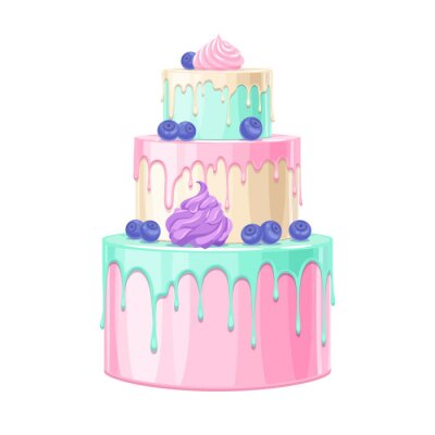 Fototapeta Colorful birthday cake decorated with berries vector illustration.
