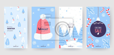 Fototapeta Colorful christmas banners with cute winter illustrations. Set of winter social media stories template. Background collection with place for text. Use for event invitation, promo, ad. Vector eps 10