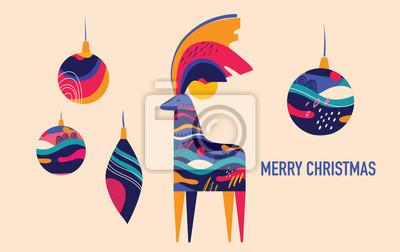 Fototapeta Colorful illustration with amazing Christmas deer and Christmas toys
