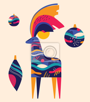 Fototapeta Colorful illustration with amazing Christmas deer and Christmas toys