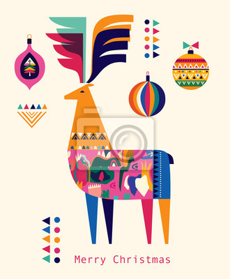 Colorful illustration with decorative deer and Christmas toys