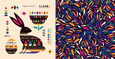 Colorful illustration with hare and easter eggs. Happy easter greeting card with decorative easter bunny