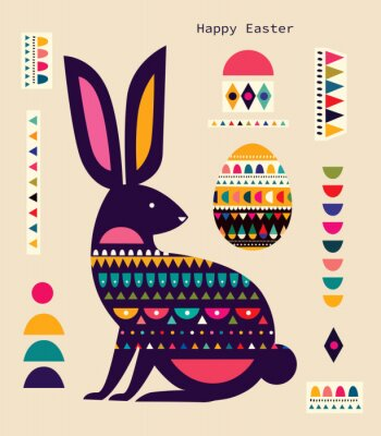 Colorful illustration with hare, easter egg and decorative elements. Happy easter greeting card with decorative easter bunny