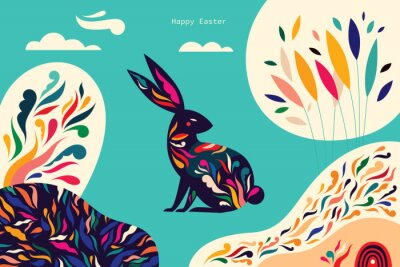 Fototapeta Colorful illustration with hare. Happy easter greeting card with decorative easter bunny