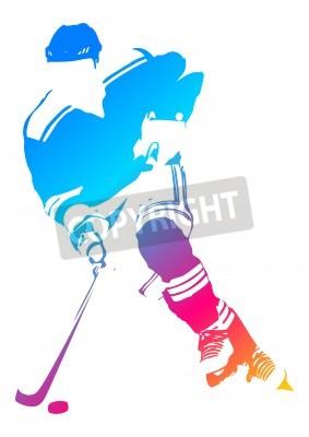Fototapeta Colorful man figure of a hockey player