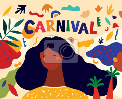 Colorful pattern with abstract stylish individual design elements. Design for holidays Brazil Carnival or party