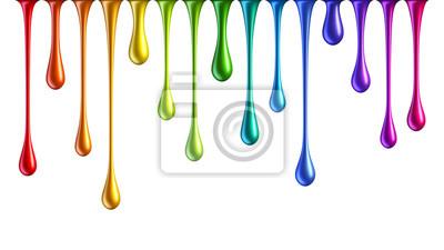 Fototapeta Colorful rainbow nail polish drops isolated on white background