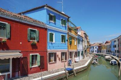 Fototapeta Colorful Residential house in Burano island, Venice, Italy.