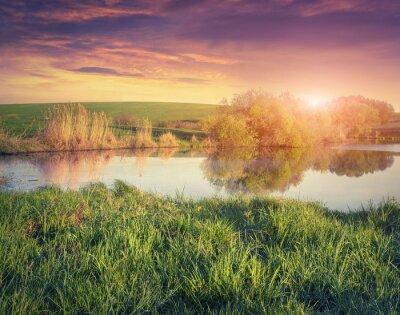 Fototapeta Colorful spring sunrise on the fishing pond.